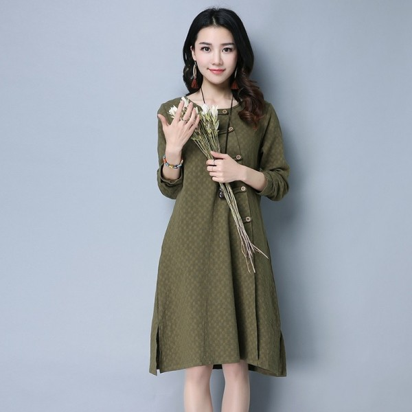 New Autumn Winter Spring Loose Fit Retro Vintage Linen Dress Long Knee  Length Female Cardigan For
