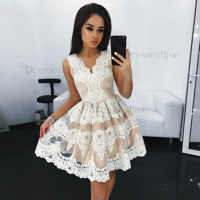 A-Line V-Neck Sleeveless Ivory Lace Short Homecoming Dress