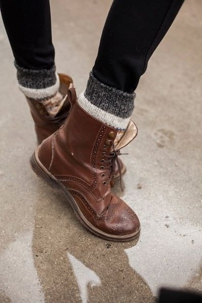 shoes boots brown lace up socks rock oxfords flats brogue shoes cute combat boots  brown boots