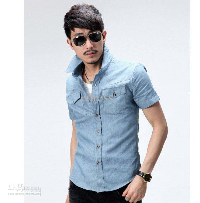 2019 2012 New Short Sleeve Shirts For Men , Pure Color Denim Shirts