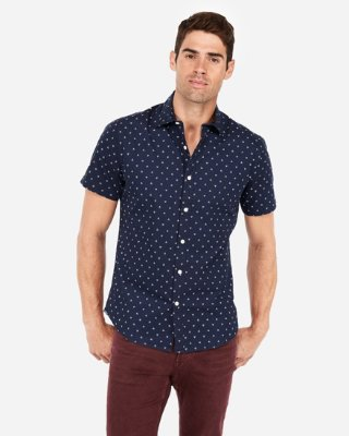 Slim Geo Short Sleeve Shirt | Express