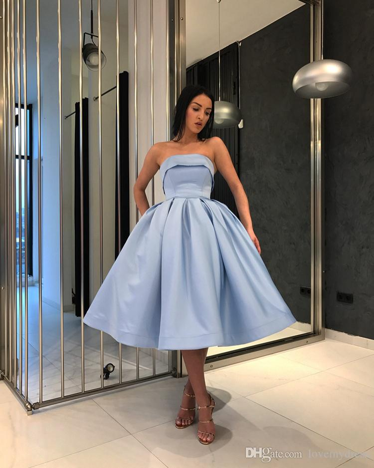 Light Blue Short Evening Prom Dresses For Girls 2018 Simple Under 100  Formal Gowns Strapless Satin Ball Gown Party Homecoming Cocktail Dress  Evening Dresses