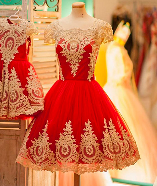 Cute red lace short ball gown prom dress, cute homecoming dress
