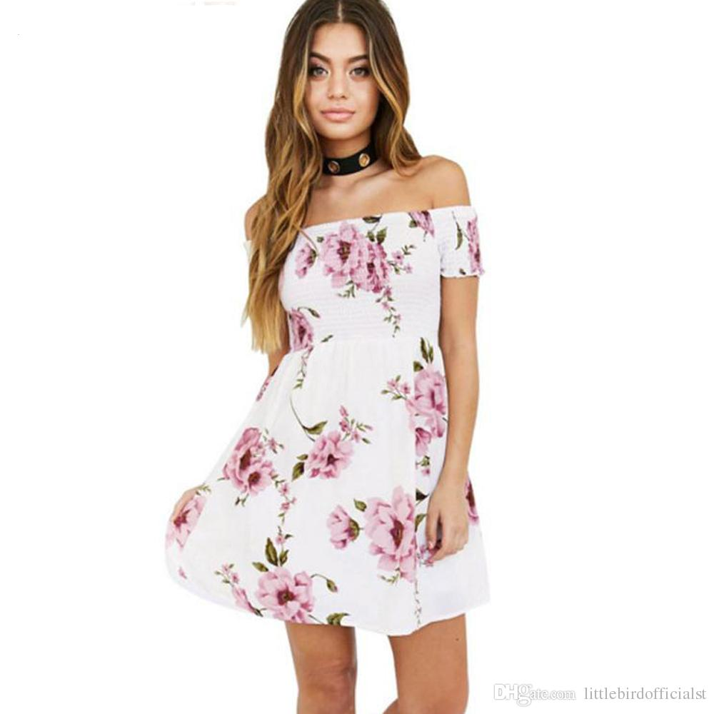 Sexy Off Shoulder Floral Print Sundress Short Beach Dresses Summer Women  Slash Neck Short Sleeve Tunic Party Dress Online with $21.56/Piece on