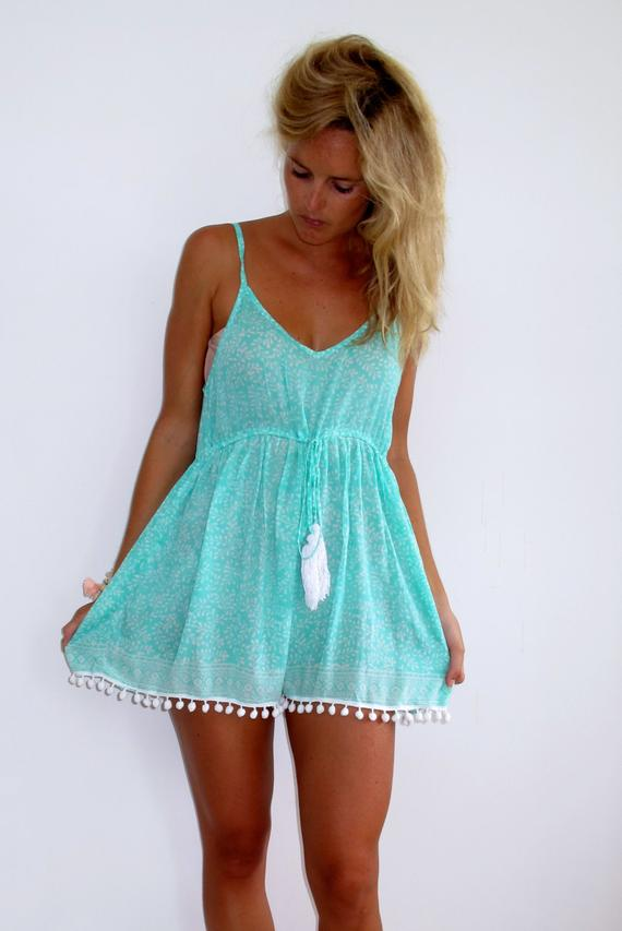 Mint Pom Pom Jumpsuit / Playsuit, Short Beach Dress, Mint Green and White  Print Skort Shorts with Wh
