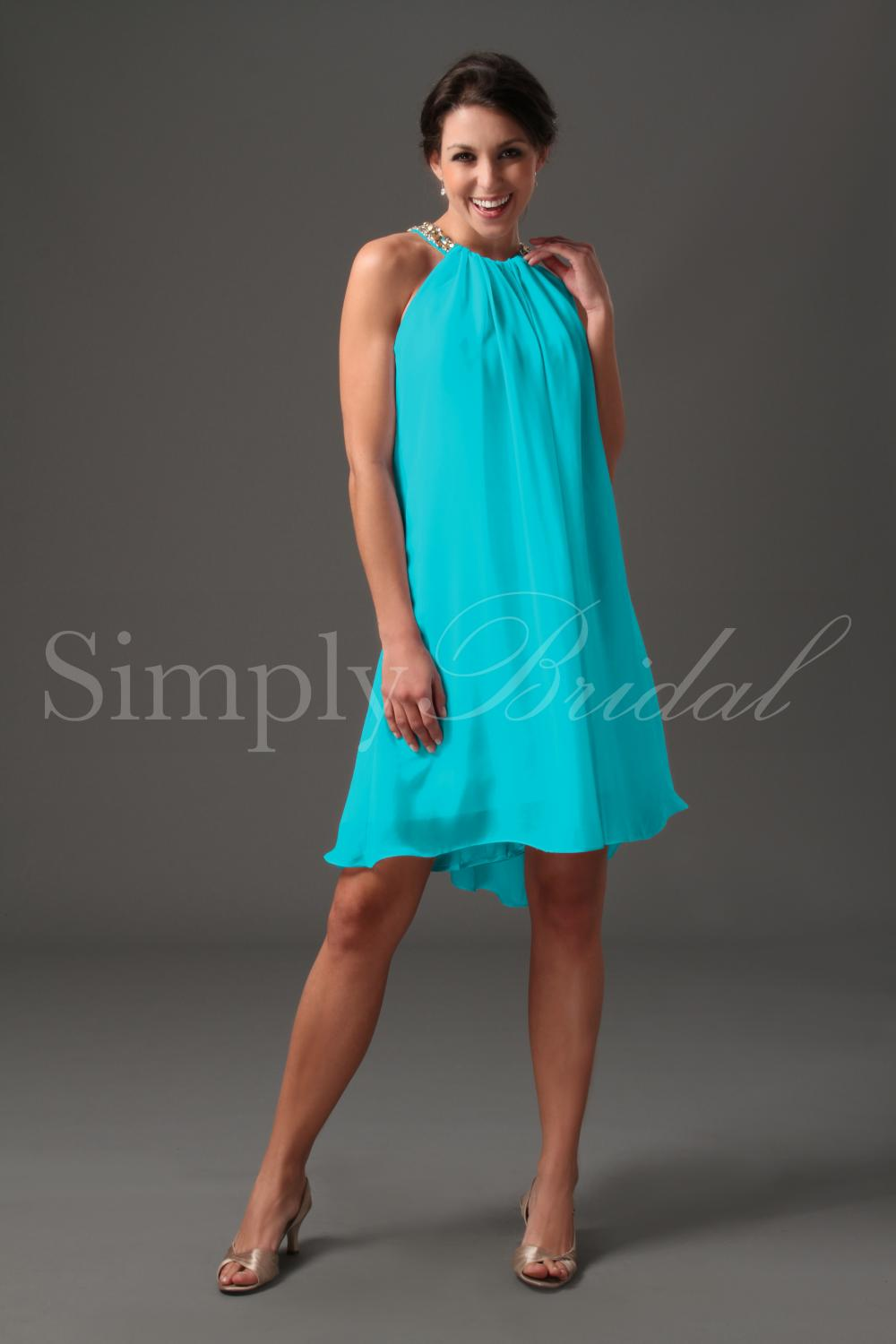 #85039 - Short Chiffon Dress with Beading