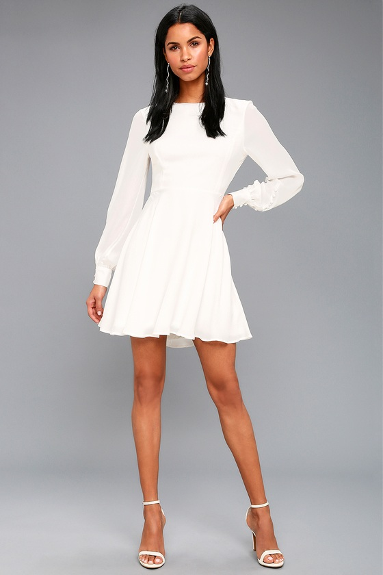 Sadie May White Long Sleeve Dress