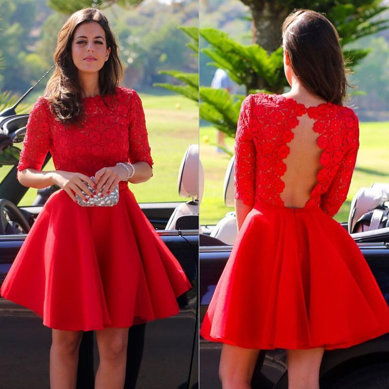 2017 Short Red Graduation Dresses With Short Sleeves Vintage High Neck Lace  Bodice Cut Out Open Back Homecoming Dresses Cocktail Dresses Red Lace  Homecoming