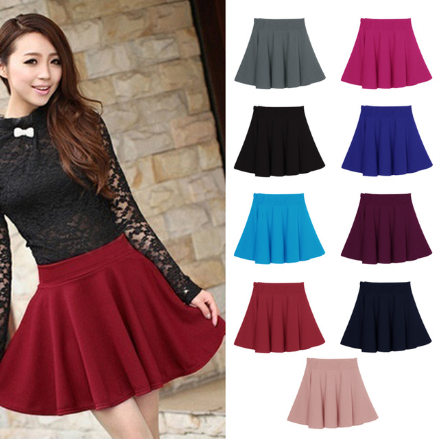 New Women Skirt Sexy Mini Short Skirt Fall Skirts Womens Stretch High Waist  Pleated Tutu Skirt