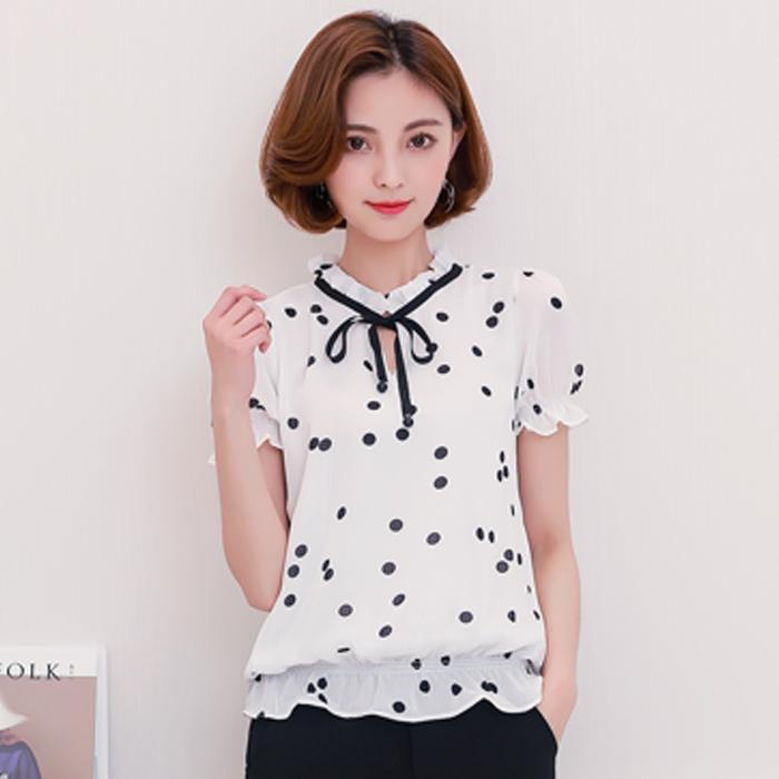 2019 Summer New Chiffon Shirt Short Sleeve Blouses 2017 Stand Collar Polka  Dot Printed Shirts Plus Size Blouse Women Blousa S 4XL From Micheala_shop,