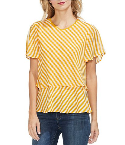 Vince Camuto Mixed Stripe Layered Blouse