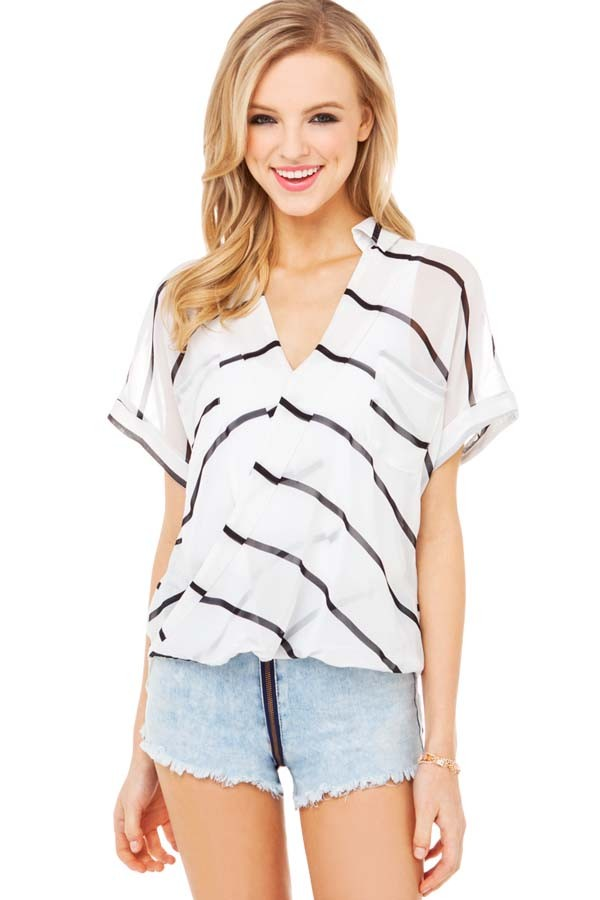 White Chiffon V Neck Stripe Short Sleeve Blouse