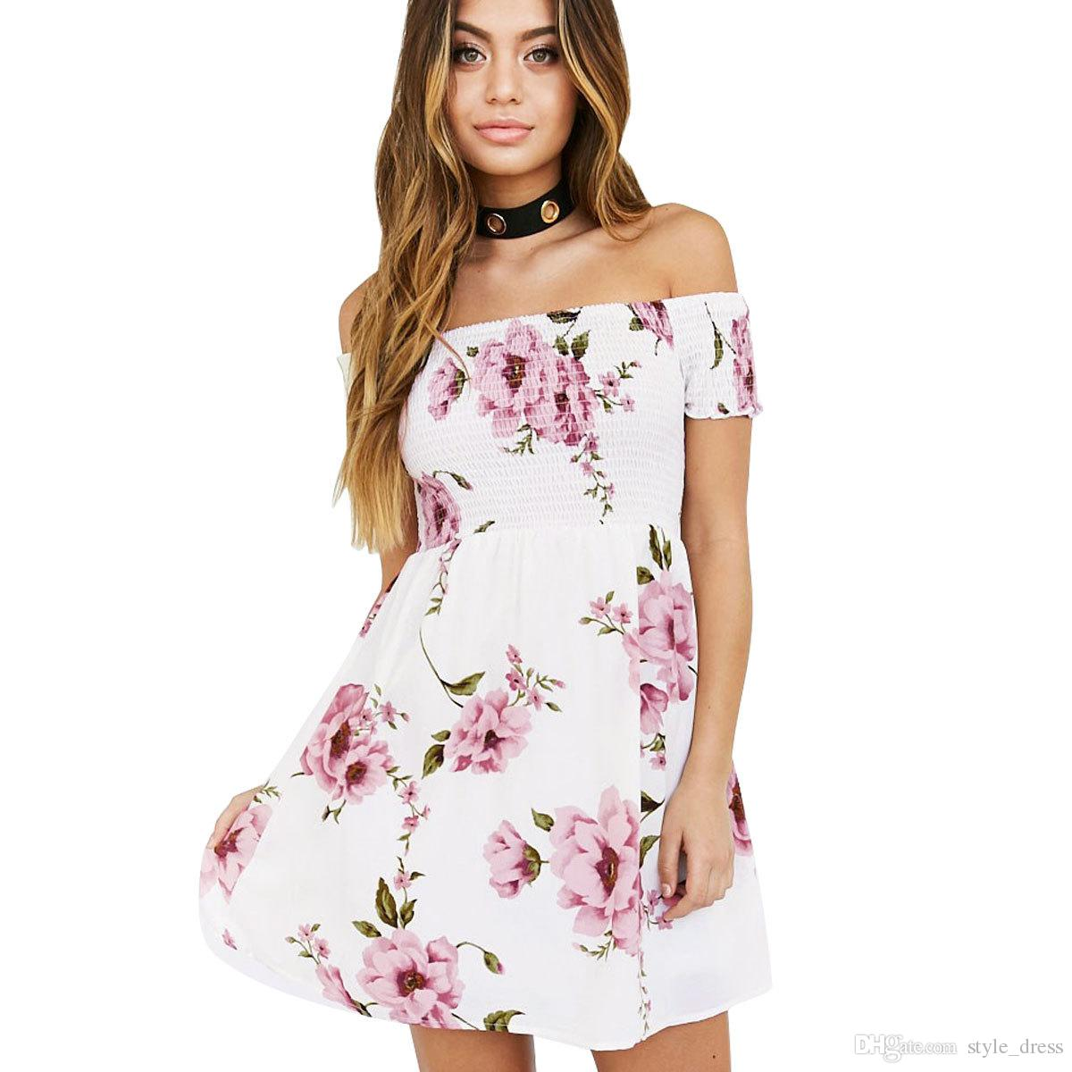 Women Off Shoulder Floral Print Summer Dress Sexy Short Sleeve Beach A Line  Short Mini Casual Dress White Summer Dresses For Juniors Black Dressed From
