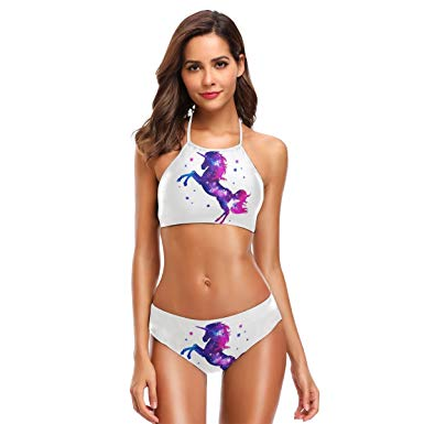Traveller Location: Naanle Colorful Galaxy Unicorn Bikini Swimwear Swimsuit Beach  Suit Bathing Suits for Teens Girls Women: Clothing