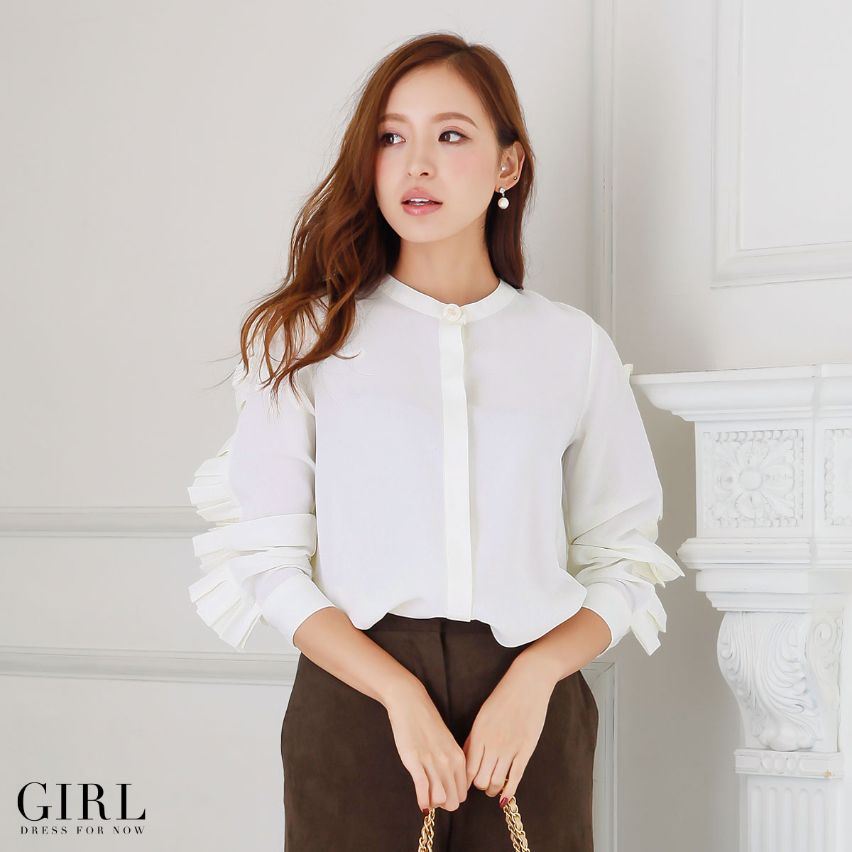 Tops blouse design Chateau ladies shirt long sleeves with sleeves  sleeves and sheer casual commuter Office