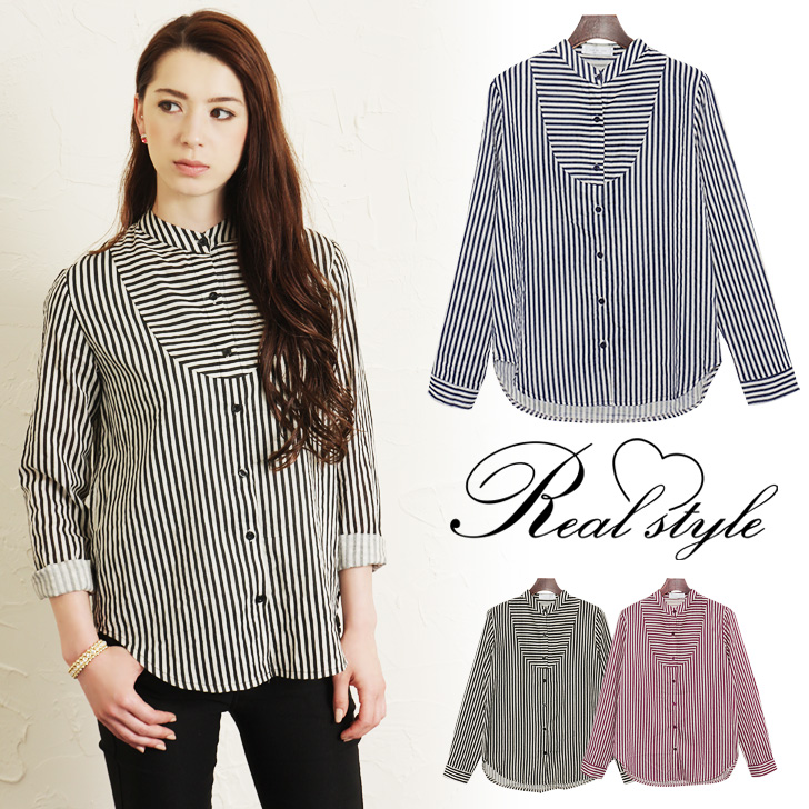 outletruckruck: Simple Strip no collar shirt Womens tops blouse stand neck  high neck put high neck pinstriped border switching long sleeves t-shirt