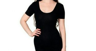 American Apparel Black Double U Neck Dress