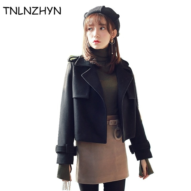 TNLNZHYN 2018 New Women Wool Coats Turn Down Elegant Outwear Spring