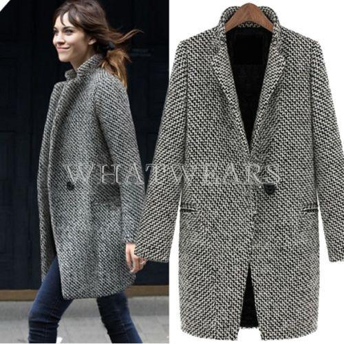 2019 Fashion Womens Wool Coats One Button Big Lapel Wool Blend Long