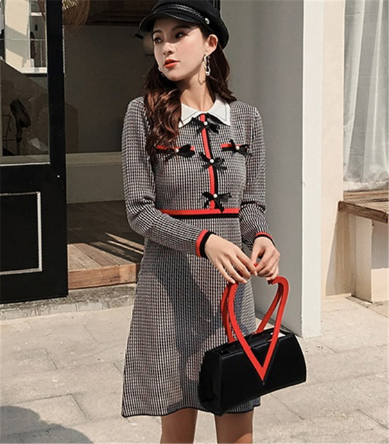 limiguyue women a line dress bow pearls button plaid turn down