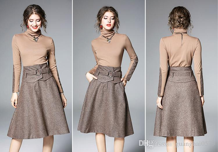 2019 2018 Two Piece Runway Dress,Autumn And Winter Plus Size Dress