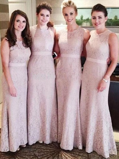 Sheath/Column Lace Beautiful Bridesmaid Dresses, Light Pink