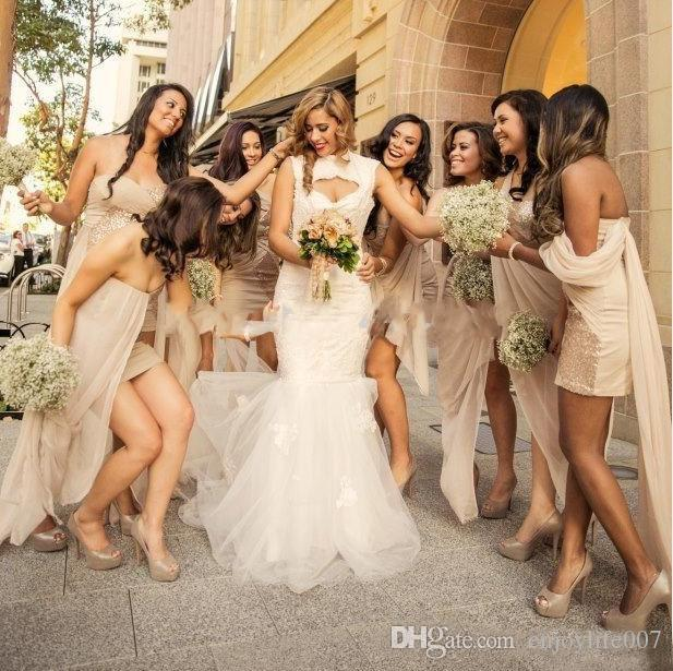 Beautiful Wedding Party Dress Bridesmaid Dresses Backless Champagne