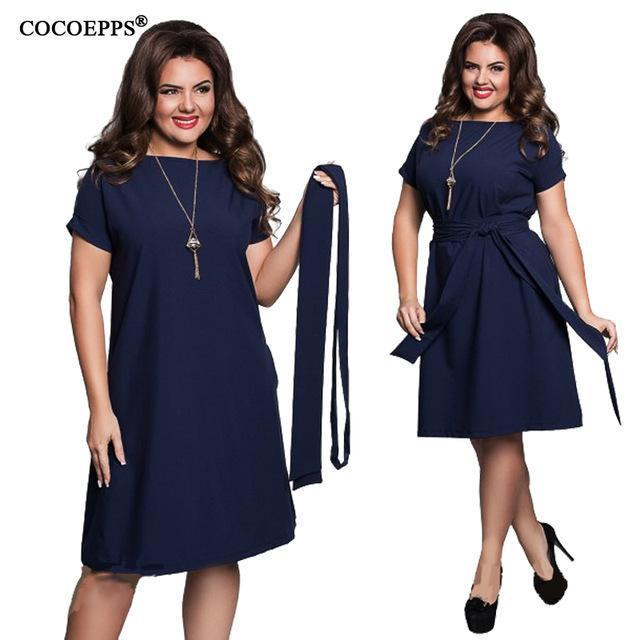 Cocoepps Elegant Casual Women Blue Dresses Big Sizes New 2018 Plus