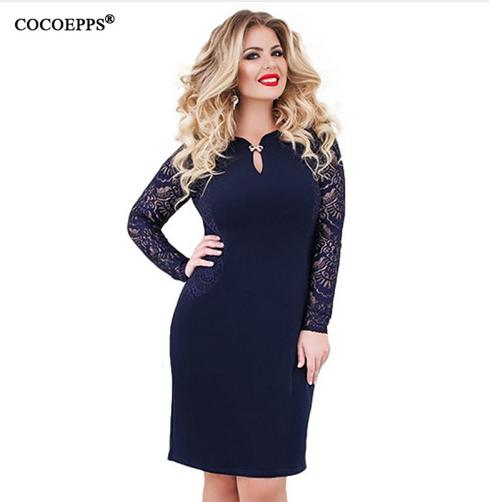 2019 2018 Sexy Office Lady Big Size Dress Female 5XL 6XL Lace