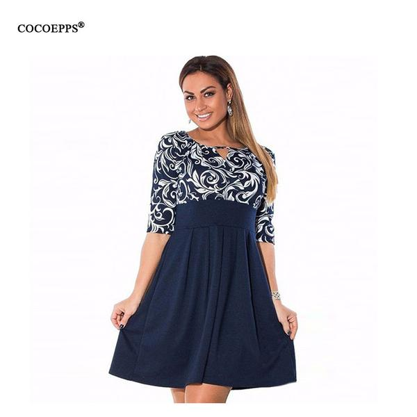 Large Size 6XL Summer Dress 2017 Plus Size Midi Dress Casual