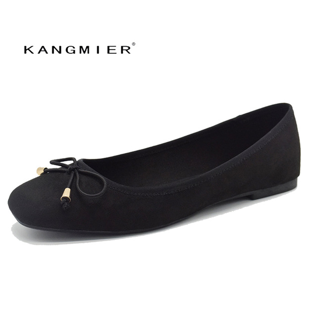 Ballet Flats Shoes Women Black Suede Ballerina Flats Square Toe With