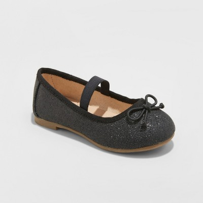 Toddler Girls' Ani Glitter Ballet Flats - Cat & Jack™ Midnight Black