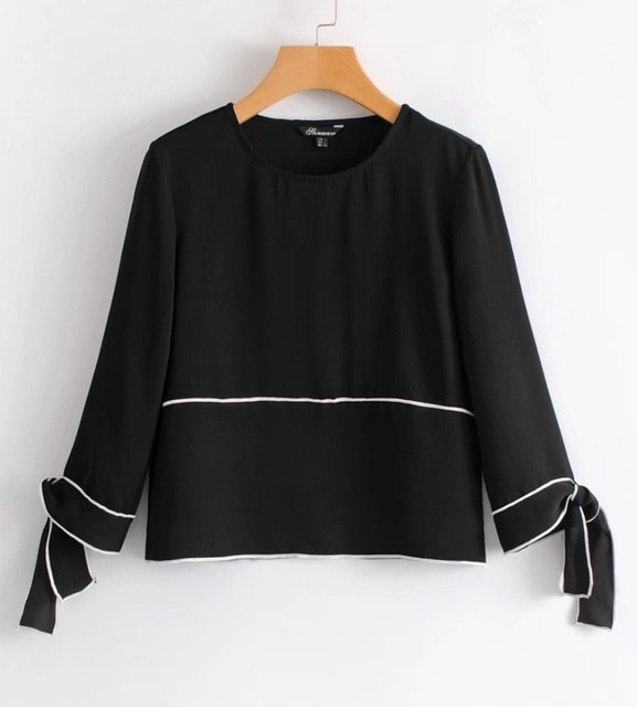 Women 3/4 Sleeve Black Blouses And Tops With Contrast Piping And Bow