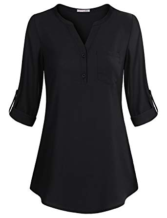 Messic Women's V-Neck Blouses 3/4 Roll-up Sleeve Button Casual
