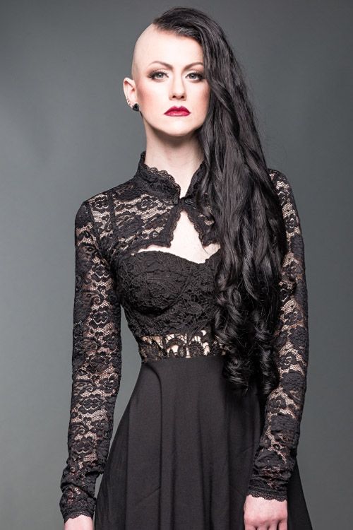 Black Lace Bolero with Stand Up Collar | Ladies Gothic
