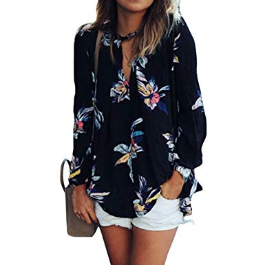 ZXZY Women Bohemian Floral Print Shirts and Blouses Black Chiffon