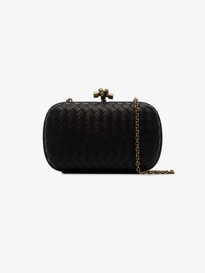 Bottega Veneta black knot detail woven leather clutch bag | Browns