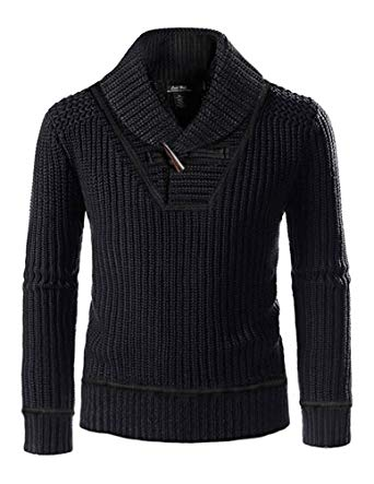 CALI HOLI Mens Ribbed Shawl Collar Pullover Sweater Black With Horn
