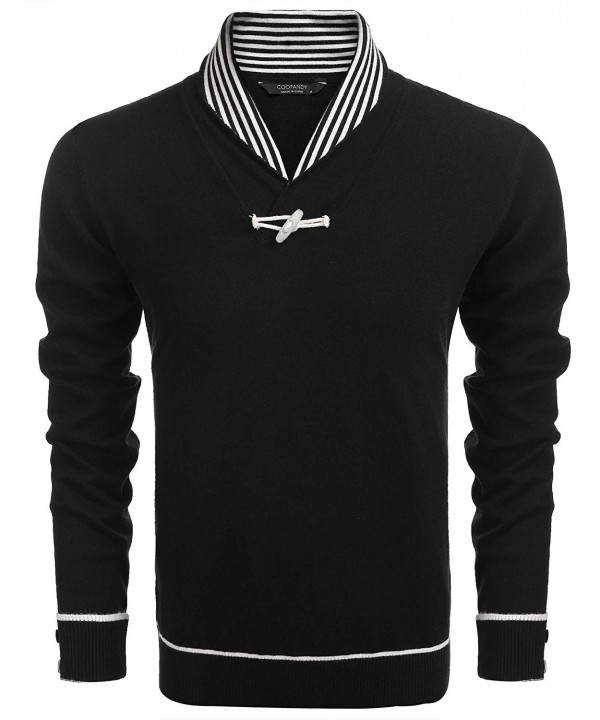 Mens Casual Knitted Slim Fit Shawl Collar Pullover Sweater With One