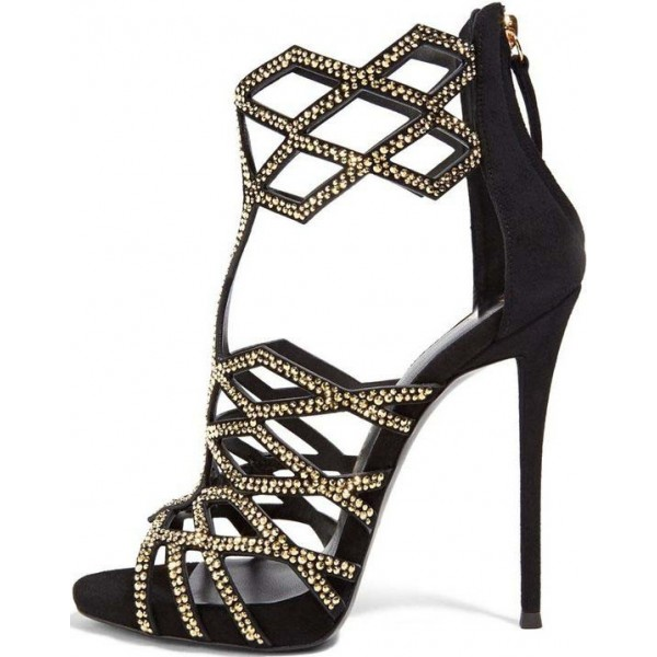 Black and Gold Studs Evening Shoes Open Toe Stiletto Heel Cage