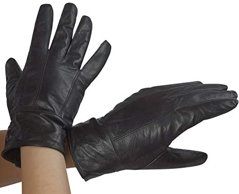 Classic Womens Black Leather Gloves with Thinsulate Lining by DEBRA