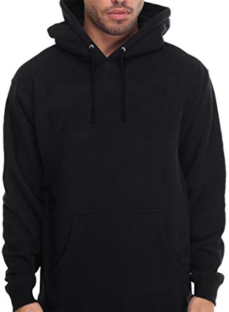 Amazon.com: CaliDesign Men's Plain Black Hoodie Pullover Sweatshirt