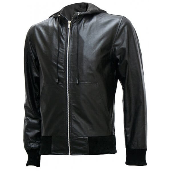 Black Bomber Leather Jacket with Hoodie | Leather Jacket Master