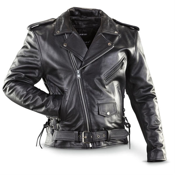 Naked Cowhide (Top Quality) Black Leather Biker Jacket With Side