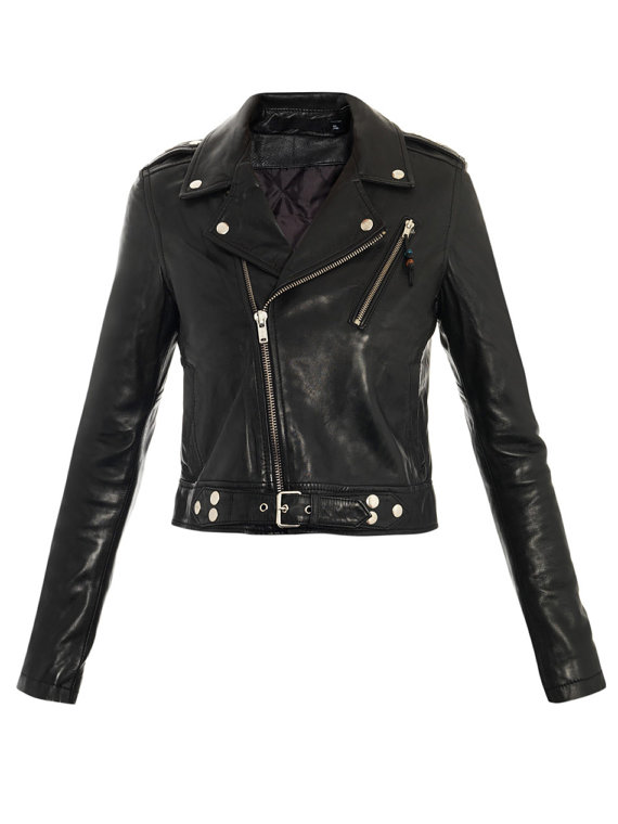 Women black biker Leather Jacket with belted on Storenvy