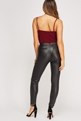 Black Faux Leather Trousers - Just £5