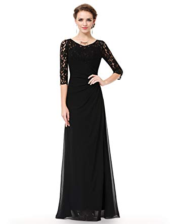 Ever-Pretty Women's Lace Long Sleeve Floor Length Evening Gown 08861