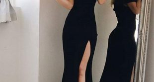 Simple Black Long Evening Dresses Off Shoulder Cap Sleeve Floor
