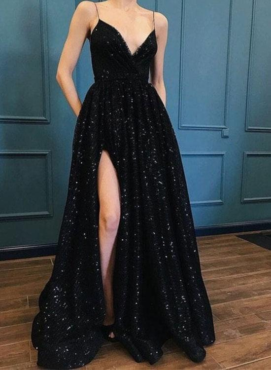 Hot Sexy A-Line Spaghetti Straps Black Long Prom/Evening Dress with