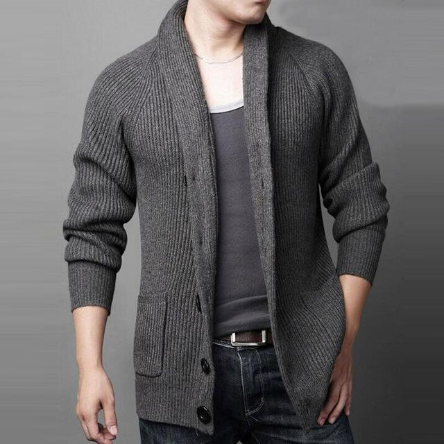 Men's Cardigans Mens Winter Sweaters Grey Black u2013 LeStyleParfait.Com